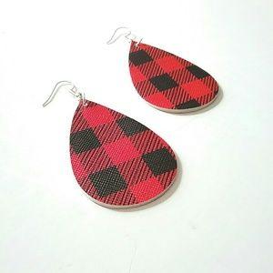 Jewelry - Red & Black Plaid Teardrop Earrings